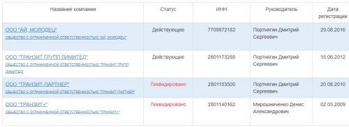Список ООО, которыми владеет Дмитрий Портнягин