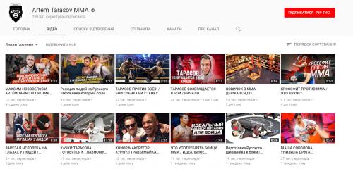 Просмотры на канале Artem Tarasov MMA