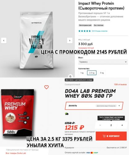 Impact Whey Protein от Myprotein против Do4a Lab Premium Whey